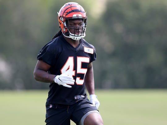 Cincinnati Bengals linebacker Malik Jefferson (45) jogs during rookie camp, Friday, May 11, 2018, at the practice fields next to Paul Brown Stadium in Cincinnati.