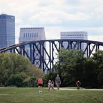 With the Louisville skyline as a backdrop, cyclists as well as walkers and joggers make use of the Clarksville Levee Top Trail that's part of the Ohio River Greenway project. The paved trail offers views of woods as well as Old Clarksville and can be taken to the historic homestead site of George Rogers Clark.