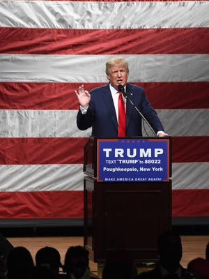 Donald Trump addresses crowd at Mid-Hudson Civic Center in the City of Poughkeepsie in April.