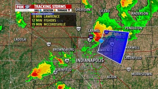 Storms with hail and lightning were impacting the Indianapolis area about 7:40 p.m.