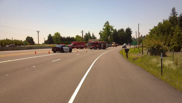 OSP responds to two-vehicle crash on Highway 99E near Canby.