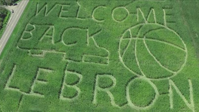 """Welcome Back LeBron"" corn maze in Brimfield, as seen from above, September 2014."