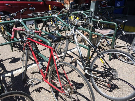 A bike rack offers customers an alternative to motor vehicles in the City Market parking lot.