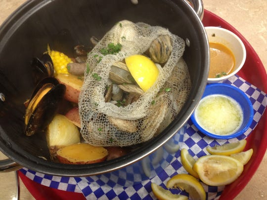 Cape Cod Fish Co. in south Fort Myers offers The Nantucket Bucket, a seafood feast for two.