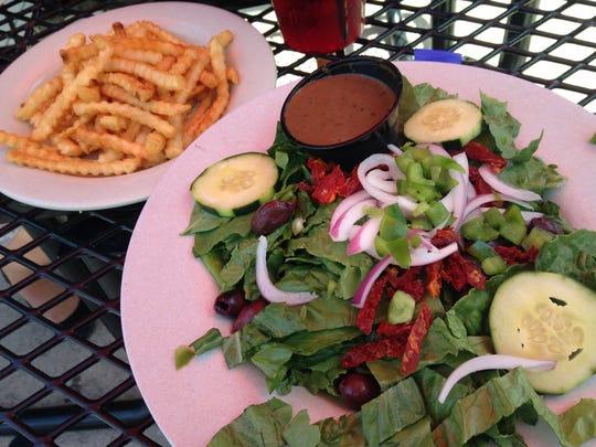 The Greek salad at Fox Harbor Pub & Grill (minus Feta cheese) was vegan friendly.