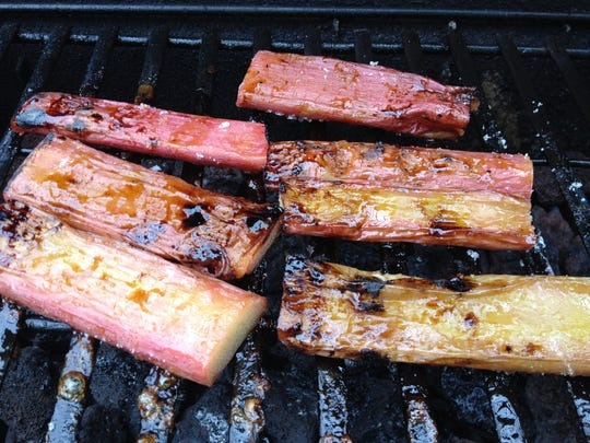 Grilled rhubarb is good as a chicken barbecue side dish.