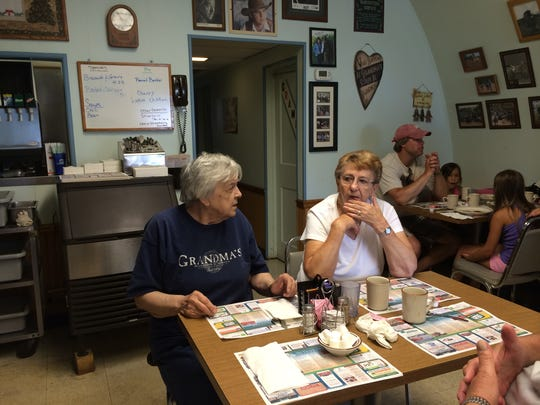 Lois Frank talks with good friend and customer, Joyce Herman, while at Grandma's USA Cafe.