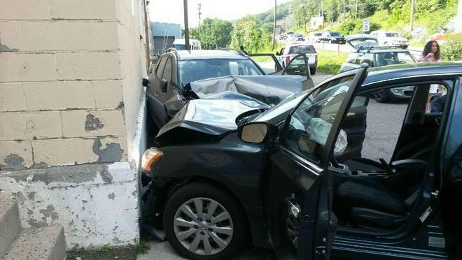 A woman was injured in a two-car accident on Route 59 in Hillburn on Friday.