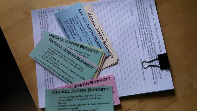 Petitions and information cards have been prepared for a group seeking to recall Springfield City Councilman Justin Burnett. That group expects to kick off the recall campaign this weekend.