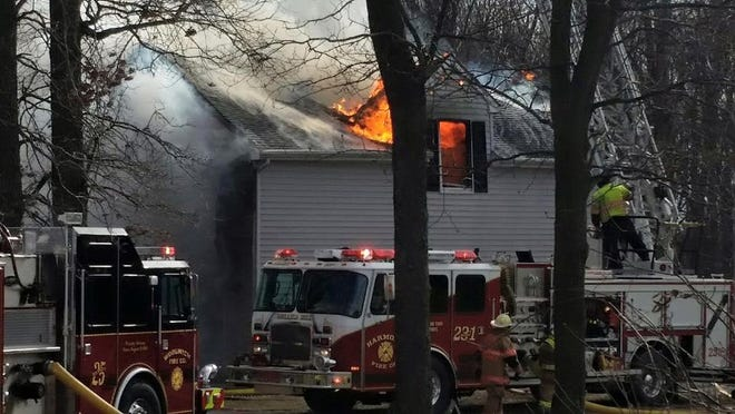 Heavy fire struck a home in Woolwich on Saturday afternoon.
