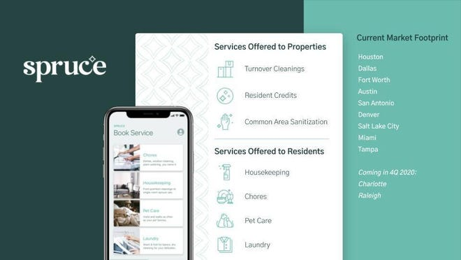 Austin-based Spruce, which provides apartment residents with on-demand help for a variety of chores, has raised $8 million for expansion.