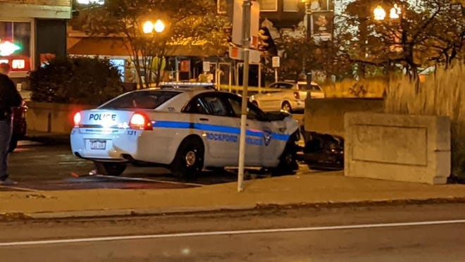 A Rockford police squad car crashed Wednesday near the intersection of Third and East State Streets