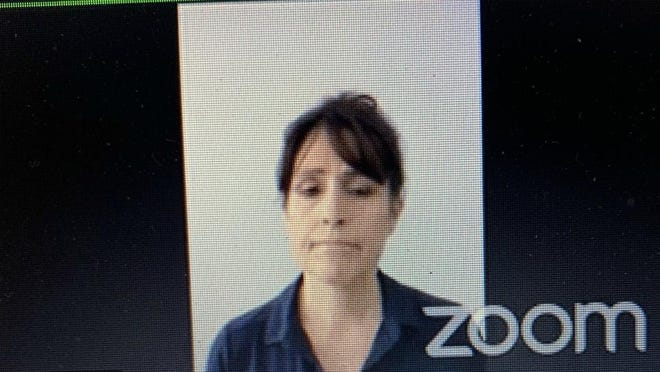 Screen shot from Zoom video of Michelle Koets being sentenced to druge charge Thursday, June 11.