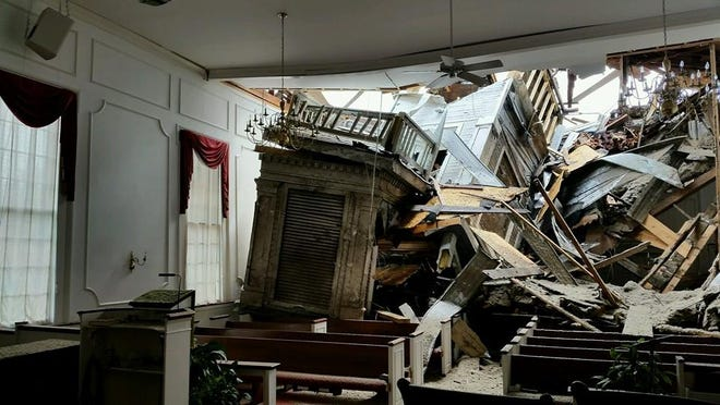 The aftermath of the tornado, which struck First Congregational Church of Portland in 2015.