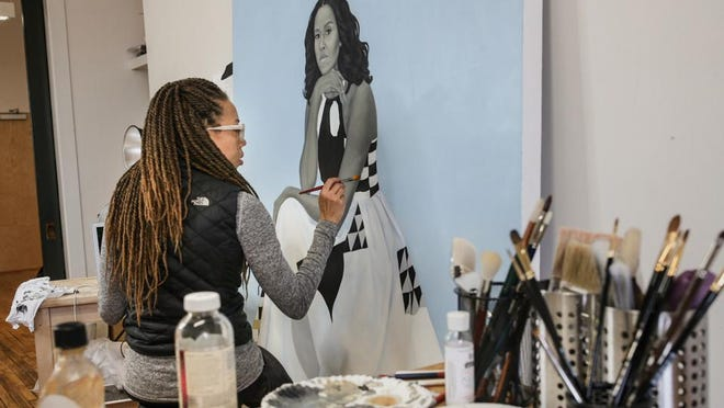 "Artist Amy Sherald working on Michelle Obama's portrait in ""Black Art: In the Absence of Light."""