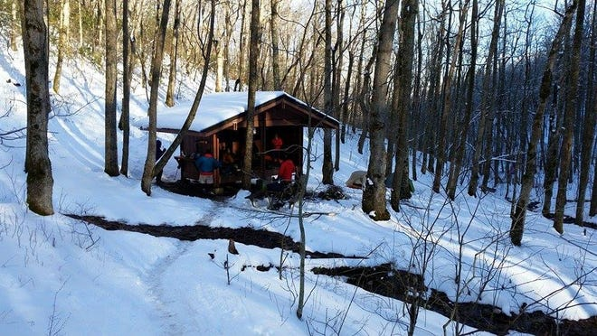 Bill Sauber, formerly of Asheville, and his son Pete Sauber, have been hiking the Appalachian Trail since late February, starting in Springer Mountain, Georgia, and hiking north. They stayed in many trail shelters, such as this one in the Great Smoky Mountains.