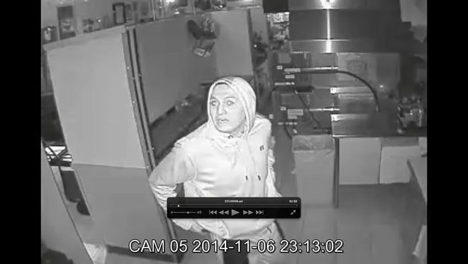A burglary suspect is shown in security footage  Thursday night at Totally 80's Pizza. Anyone with information is asked to call Fort Collins Police Services.
