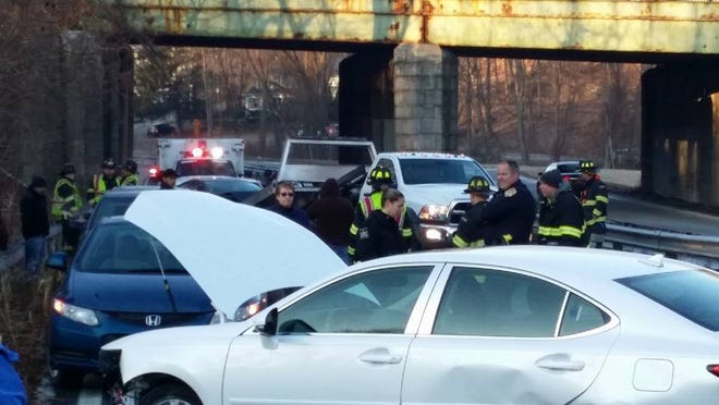 The Bedford Hills Fire Department responds to a five-car pileup on the SAaw Mill River Parkway on Friday morning.