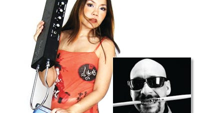 Xenovibes are theremin/synthesizer artist Shueh-li Ong and drummer John A. Martinez.