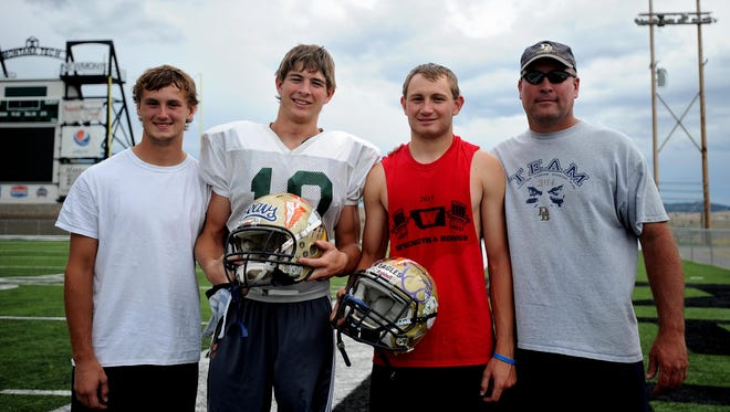 The 69th annual Montana East-West Shrine Game will truly be a family affair for the Ferris family from Dillon. Justin (left to right), Jason, JD, and Gary Ferris will all represent the western half of the state Saturday in Great Falls. The three boys are all first-cousins and will all play football at UM-Western in college. Gary is JD's father and is an assistant coach for the West squad.