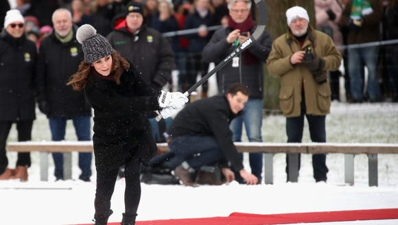 Duchess Kate practices penalty shots with the Stockholm