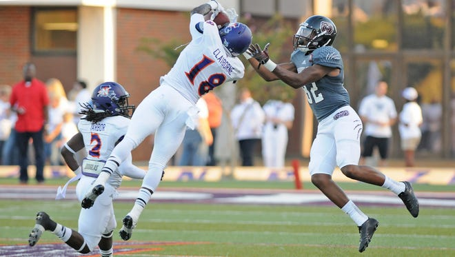 Northwestern State cornerback Imoan Claiborne (18), a former All-Cenla standout at Alexandria Senior High, likely will hear his named called Friday night or early Saturday in the NFL Draft.