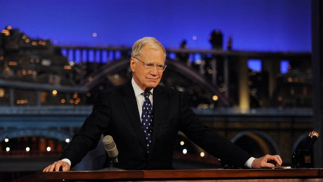 """David Letterman appears during a taping of his final """"Late Show with David Letterman"""" on Wednesday at the Ed Sullivan Theater in New York. After 33 years in late night television, 6,028 broadcasts, nearly 20,000 total guest appearances, 16 Emmy Awards and more than 4,600 career Top Ten Lists, David Letterman is retiring. ()"""