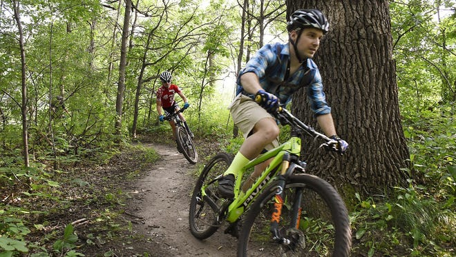 Mountain bike riders of all ages and experience levels take on the trails Thursday at the Jail's Trail's North Loop. The event by the Mid-Minnesota Cycling Club was to for people to learn more about he club and the trails.