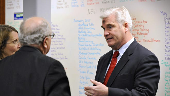 U.S. Rep. Tom Emmer met with area business representatives in February at the St. Cloud Area Chamber of Commerce.