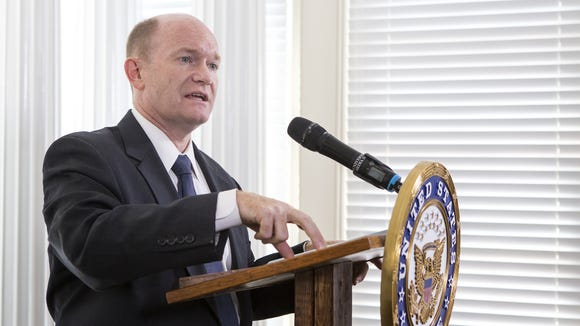 U.S. Sen. Chris Coons, D-Del., backs a Joe Biden presidential campaign, citing the vice president's foreign policy expertise.
