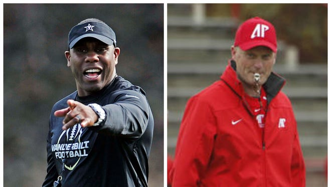 Vanderbilt coach Derek Mason, left, and Austin Peay coach Kirby Cannon.