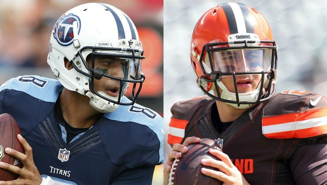 Quarterbacks Marcus Mariota of the Titans and Johnny Manziel of the Browns will meet again on Sunday in Cleveland.