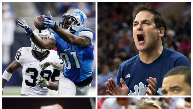 Photos clockwise from top left: The Lions' Calvin Johnson, the Mavericks' Mark Cuban, a Texas Tech cheerleader and a scene from The Godfather: Part II