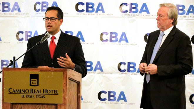 El Paso City Manager Tommy Gonzalez, left, was the featured speaker at the Central Business Association's monthly meeting Wednesday at the Camino Real Hotel.