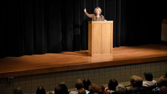"""Patty Wetterling speaks to members of the Paynesville community at the Paynesville High School during a Sunday, Dec. 6 meeting held to connect with those who have been affected by the news that a former Paynesville resident was identified as a """"person of interest"""" in the Jacob Wetterling abduction case. Wetterling urged people come forward if they have information and offered advice to keep children safe."""