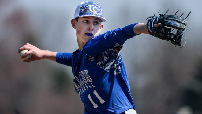 Cedar Crest's Chad Ryland delivers a pitch during the Falcons' 10-5 loss to Palmyra on Saturday. Ryland is one of many underclassmen on the Cedar Crest staff.