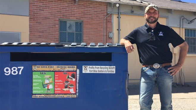 Former Sgt. Jeremy Gordon was one of the original Recycle Heroes at Fort Bliss. Now, that he has left the Army, he works for the Fort Bliss Recycling Program and teaches soldiers and units to recycle properly.