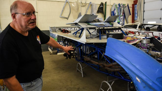 Jim Bernheisel of Bernheisel Race Cars in Jonestown talks about the special two-seat race car he designed to carry William Dieffenbach during a race at Selinsgrove Speedway. Dieffenbach has an inoperable brain tumor.