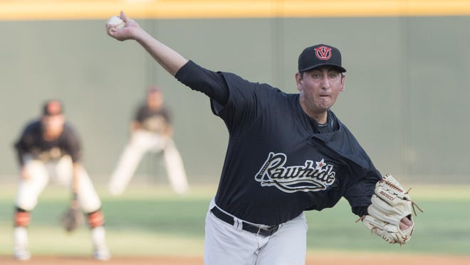 Visalia Rawhide's Justin Donatella pitches against the Modesto Nuts in the first of a three-game series on Monday at Recreation Park.
