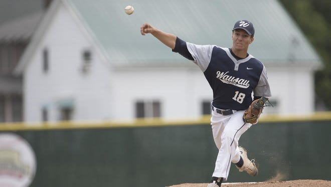 Wausau's Logan Grunenwald delivers a pitch against Beloit during the American Legion AAA State Baseball tournament Friday at Jack Hackman Field.