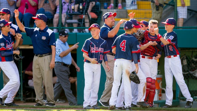 Maine-Endwell celebrates after defeating Goodlettsville 3-1, Monday, at the Little League World Series in Williamsport.