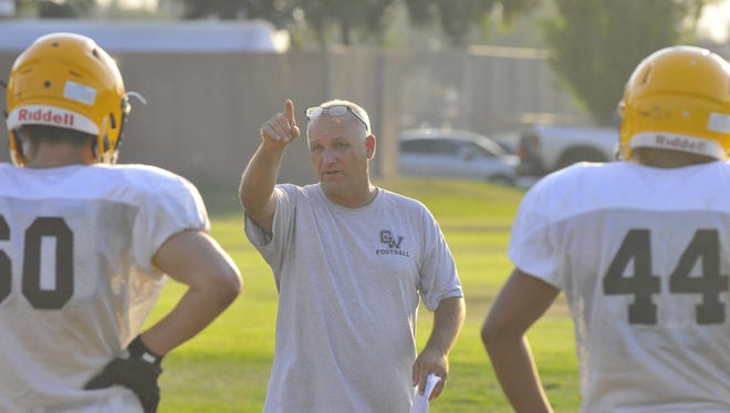 Golden West coach Paul Preheim talks to players during practice on Tuesday. Preheim is entering his sixth season as head coach of the Trailblazers.