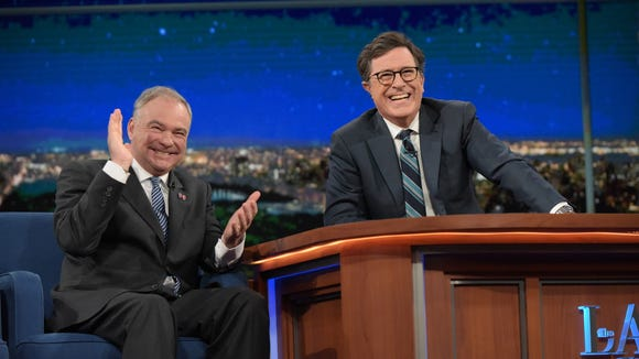 Tim Kaine visits 'Late Night with Stephen Colbert.'