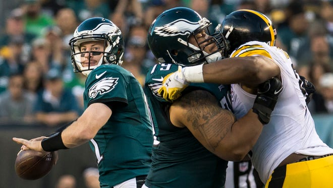 Eagles quarterback Carson Wentz delivers a pass in the third quarter of the Philadelphia Eagles 34-3 win over the Pittsburgh Steelers in Philadelphia on Sunday afternoon.