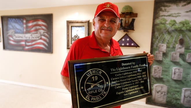 Sam Lightbourn holds the plaque that will be placed in the newly remodeled addition to the American Legion Eastwood Post 36 and 19th Rifle Company USMCR Foundation activity room. The Legion and 19th Rifle Company, U.S. Marine Corps Reserve Foundation will have a grand opening Saturday for the new 4,500-square-foot addition at the Legion's hall at 3730 Shell St. The addition was funded by Lightbourn and will serve as the new permanent home for the 19th Rifle Company, USMCR Foundation.
