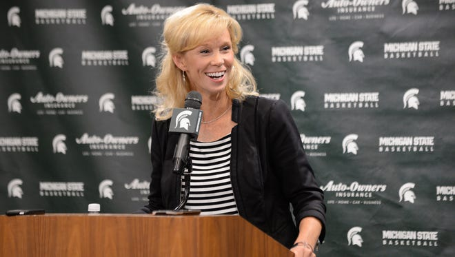 Michigan State women's basketball coach Suzy Merchant speaks to the media Oct. 19, 2016.