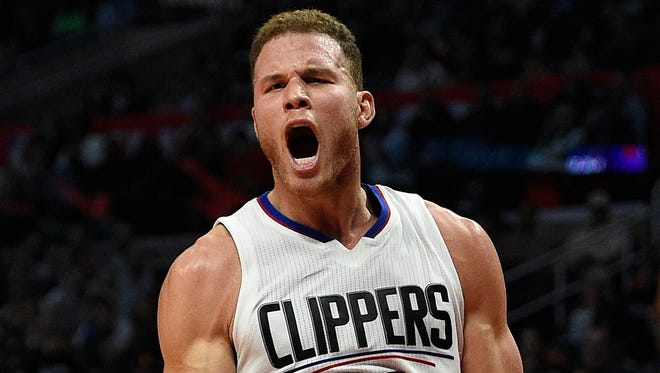 Blake Griffin (32) reacts after a foul is called while attempting a shot during the third quarter against the Oklahoma City Thunder at Staples Center.