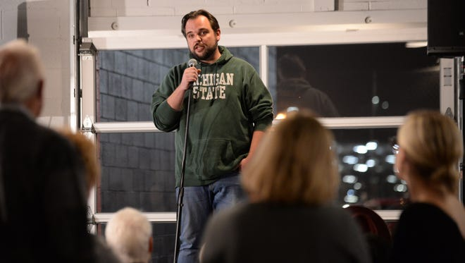 Travis Fritts, founder and master brewer at Old Nation Brewing Co. in Williamston, speaks during a Lansing State Journal Storytellers Project at the Lansing Brewing Company in November.