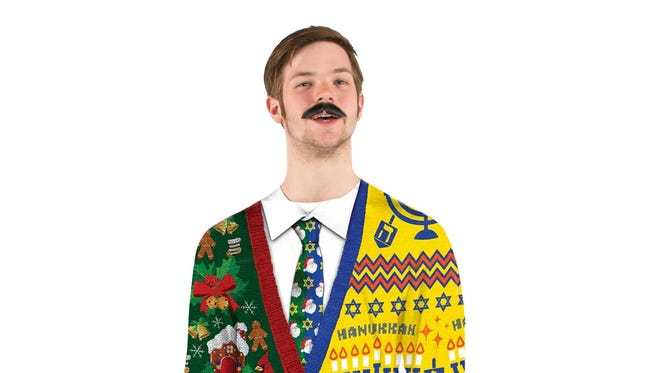 Christmas/Hanukkah sweater, with menorahs on one side and candy canes on the other.