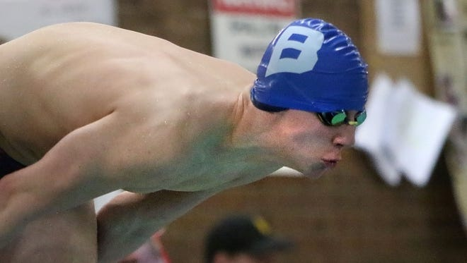 Brookfield's Ryan Linnihan comes off the blocks as he competes in the 50 freestyle event in a dual meet against Arrowhead on Jan. 5. The Barracudas took fourth in the Marquette Invite on Jan. 7.